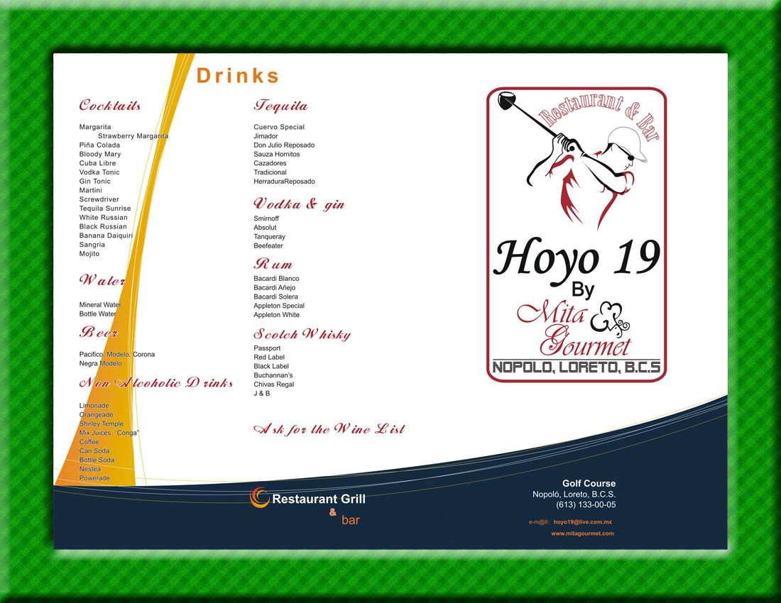 19th Hole Bar Menu