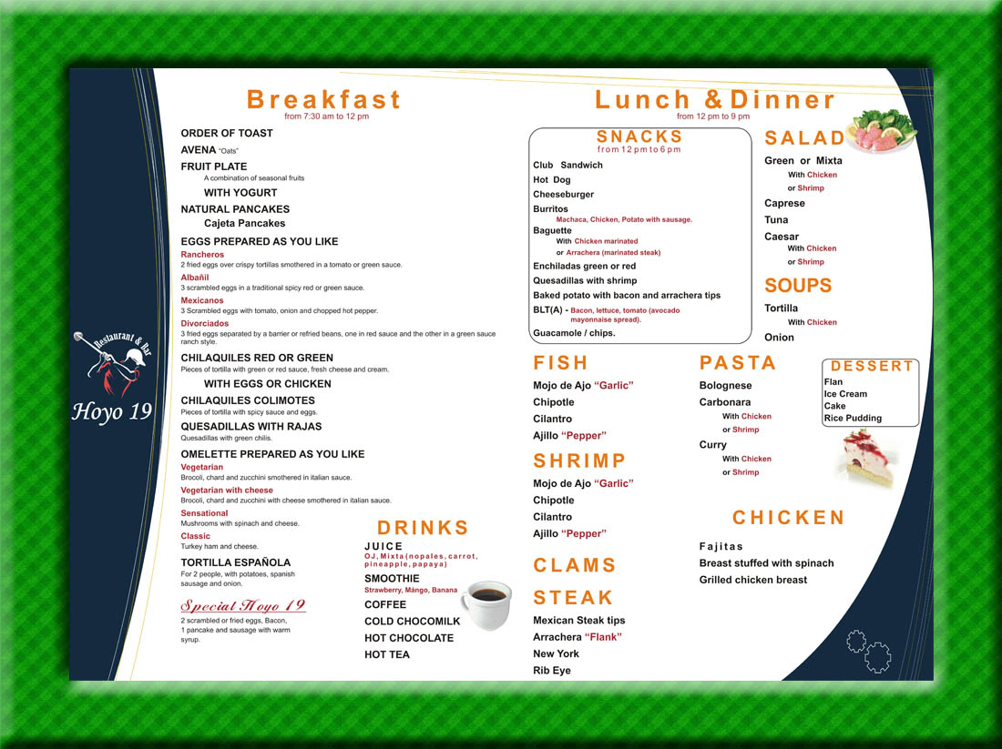 19th Hole Food Menu